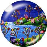 Botones a presión de vidrio con estampado de flores en color de 20 mm