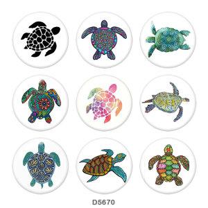 Botones a presión de vidrio con estampado de tortuga marina de 20 mm