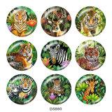 Botones a presión de vidrio con estampado de ciervo tigre de 20 mm