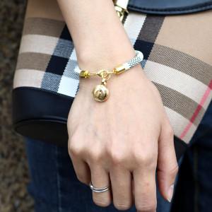 Кожаный браслет в полоску из полиуретана, браслет с медной пряжкой, настоящий позолоченный круглый мини-чехол