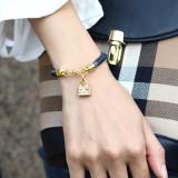 Полосатый браслет, подвеска в виде мини-сумки, браслет из настоящего золота с гальваническим покрытием