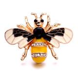 20MM abeille en métal argenté avec breloques en strass s'enclenche des bijoux