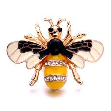 Plata de metal de abeja de 20 mm plateada con encantos de diamantes de imitación broches de presión joyería
