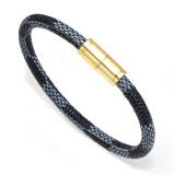 Cowhide Striped Bracelet Bracelet Men and Women Couple Bracelet Alloy Magnetic Clasp Bracelet