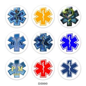 Стеклянные кнопки с принтом медсестры 20 мм