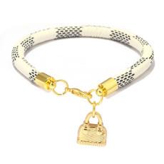 Pulsera de rayas, colgante de mini bolso, pulsera de oro auténtico galvanizado