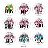 20MM   Nurse   Print   glass  snaps buttons