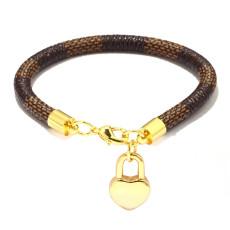 Gestreiftes Armband, Mini-Pfirsich-Herzanhänger, galvanisiertes Echtgold-Armband