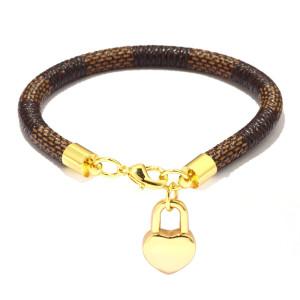 Браслет в полоску, миниатюрная подвеска в виде сердца из персика, браслет из настоящего золота с гальваническим покрытием