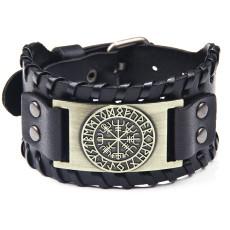 Piratenarmband Vintage Compass Herren Breites Lederarmband