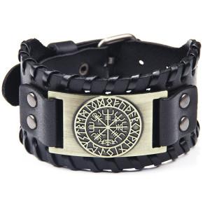 Пиратский браслет Vintage Compass Мужской широкий кожаный браслет