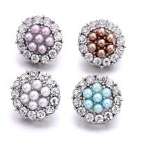 Los encantos a presión plateados plateados del metal de la perla de los 20MM encajan la joyería