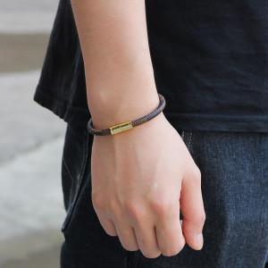 Браслет в полоску из воловьей кожи, браслет для мужчин и женщин, браслет из сплава с магнитной застежкой
