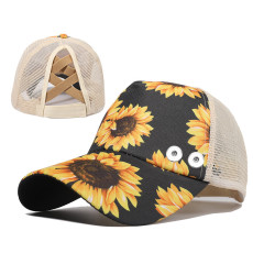 Flower summer sunscreen sun protection peaked cap ponytail cap fit 18mm snap button beige