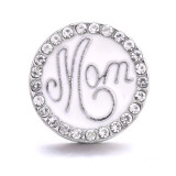 20MM Mom metal silver plated with Rhinestone snap charms snaps jewelry