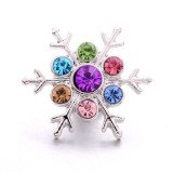 20MM flocon de neige en métal argenté avec breloques à pression en strass s'enclenche des bijoux