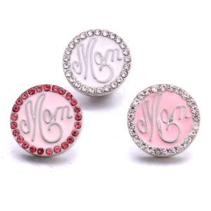 20MM Mom Metall versilbert mit Strass Snap Charms Snaps Schmuck