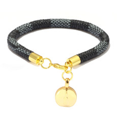 PU gestreiftes Lederarmband Armband Kupferschnalle Echt vergoldete runde Mini-Tasche