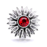 20MM flower metal silver plated with Rhinestone snap charms snaps jewelry
