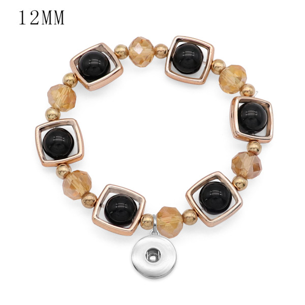 1 buttons With  snap Imitation crystal Elasticity  bracelet fit12MM snaps jewelry