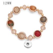 1 botones Con broche de cristal de imitación Pulsera de elasticidad fit12MM broches de presión