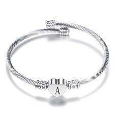 26 Buchstaben Edelstahl Armband Titan Stahl Liebesbrief Armband offene Damen Silber Armband