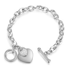 愛のステンレス鋼のブレスレットローズゴールドメッキダイヤモンドハンドジュエリーOTクラスプチタン鋼の女性のブレスレット