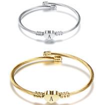 26 Buchstaben Edelstahl Armband Titan Stahl Liebesbrief Armband offene Damen Goldenes Armband
