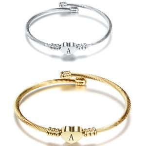 Браслет из нержавеющей стали с 26 буквами, браслет из титановой стали с любовным письмом, открытый женский золотой браслет