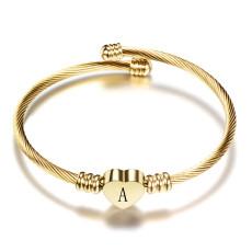 26 lettres bracelet en acier inoxydable bracelet lettre d'amour en acier titane ouvert dames bracelet doré