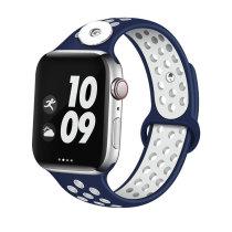 38 / 40MM Aplicable a Apple Watch Apple Watch Correa de silicona deportiva transpirable de dos colores de 6 generaciones iwatch6 se ajusta a trozos de 18 mm