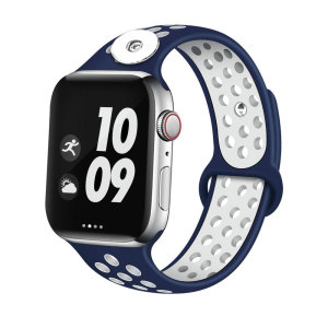 38 / 40MM Aplicable a Apple Watch Apple Watch Correa de silicona deportiva transpirable de dos colores de 6 generaciones iwatch6 se ajusta a trozos de 18 mm