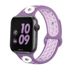 42 / 44MM Aplicable a Apple Watch Apple Watch Correa de silicona deportiva transpirable de dos colores de 6 generaciones iwatch6 se ajusta a dos trozos de 18 mm