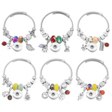 6pcs/lot 1 buttons With  snap Small accessories Elasticity  bracelet fit18&20MM snaps jewelry Random colors and styles