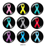 20MM   Ribbon  Print   glass  snaps buttons