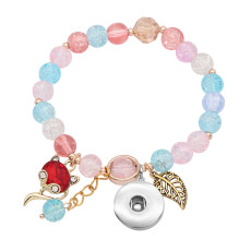 1 buttons With  snap Glass beads  Elasticity  bracelet fit18&20MM snaps jewelry