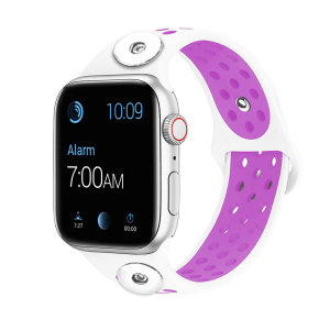 42 / 44MM Aplicable a Apple Watch Apple Watch Correa de silicona deportiva transpirable de dos colores de 6 generaciones iwatch6 se ajusta a dos trozos de 18 mm