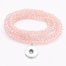 80CM 1 buttons With  snap Imitation crystal  Elasticity  bracelet fit18&20MM snaps jewelry
