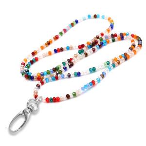 80CM Imitation Crystal Colorful Bead Elastic Hook Necklace