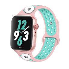 38 / 40MM Aplicable a Apple Watch Apple Watch Correa de silicona deportiva transpirable de dos colores de 6 generaciones iwatch6 se ajusta a dos trozos de 18 mm