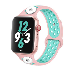 38 / 40MM Aplicable a Apple Watch Apple Watch Correa de silicona deportiva transpirable de dos colores de 6 generaciones iwatch6 se ajusta a dos trozos de 18 mm