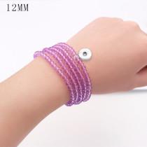 80CM 1 botones con broche de presión de cristal de imitación pulsera de elasticidad fit12MM broches de presión joyería