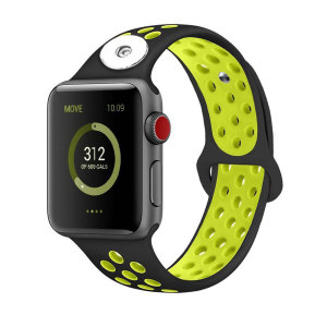 42 / 44MM Aplicable a Apple Watch Apple Watch Correa de silicona deportiva transpirable de dos colores de 6 generaciones iwatch6 se ajusta a trozos de 18 mm