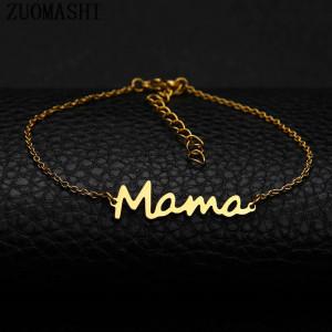 Pulsera con letras de acero inoxidable para mamá Regalo para damas del día de la madre