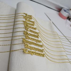 45 CM nuevo collar de doce constelaciones de acero inoxidable collar de clavícula con letras inglesas antiguas