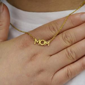 Collar de mamá y madre Collar de acero inoxidable con palabra en inglés para el día de la madre 40CM