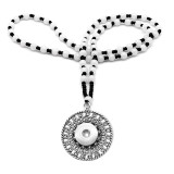 cross 60CM glass Bead Necklace silver  fit 20MM chunks snaps jewelry