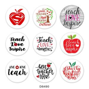 20MM Profesor Apple palabras Imprimir botones de presión de vidrio