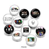 20MM  Friends  music   Print   glass  snaps buttons