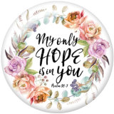 20MM   Flower  words   Print   glass  snaps buttons